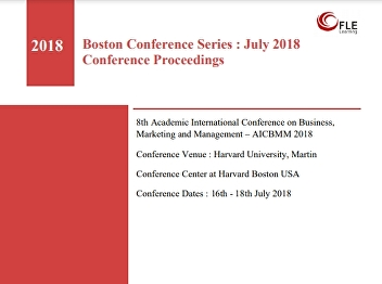 8th Academic International Conference on Business, Marketing and Management – AICBMM 2018 Conference Venue : Harvard University, Martin